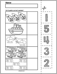 Teach counting skills with these Spring Bugs! Great for teaching counting skills and number recognition for numbers No prep and great for math centers! Numbers Preschool, Preschool Learning, Teaching Kids, Kindergarten Math Worksheets, Math Resources, Preschool Activities, Maths, Transportation Theme, Transportation Worksheet