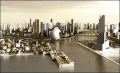 """Rem Koolhaas' Entwurf für ein kreisrundes Hochhaus in Dubais """"Waterfront City"""" wurde von der mondgroßen Raumfähre """"Death Star"""" aus der Science-Fiction-Serie """"Star Wars"""" inspiriert"""