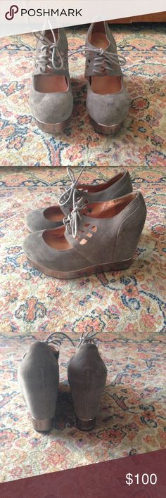 Jeffery Campbell platforms! Grey colored platforms. Suede material. Worn once! So rad. Jeffrey Campbell Shoes Platforms