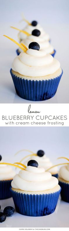Lemon Blueberry Cupcakes, bit with a silver accent or baby's breath