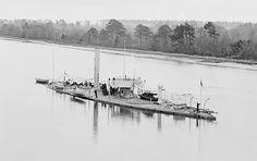 Spar torpedo boat USS Casco on the James River, Virginia, 1865