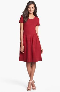 $58, Burgundy Skater Dress: Taylor Dresses Fit Flare Sweater Dress Red Large P. Sold by Nordstrom. Click for more info: https://lookastic.com/women/shop_items/228464/redirect
