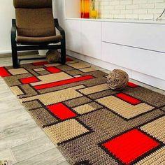 Crochet Cord, Diy Crochet, Crochet Ripple Blanket, Knit Rug, Crochet Rug Patterns, Crochet Carpet, Tapis Design, Long Rug, Rugs On Carpet