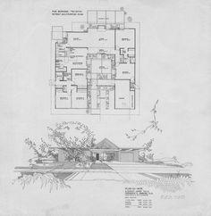 Eichler floor plan in the Fairhills tract of Orange. Plan OJ-1605, Jones & Emmons designed.