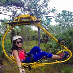 The aerial bike path at Forever Florida is the only one in the entire United States so buckle in for an unusual and awesome ride. Places In Florida, Visit Florida, Destin Florida, Florida Vacation, Florida Travel, Vacation Places, Florida Beaches, Travel Usa, Travel