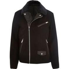 Black woolen faux fur collar biker jacket - jackets - coats / jackets - men
