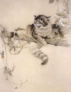 Chinese Cat Painting 0 x x Asian Cat, Oriental Cat, Japan Painting, Watercolor Painting, Japanese Cat, Illustration Art, Illustrations, Cat Drawing, Anime Comics