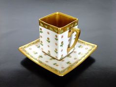 Theodore Haviland Limoges France 1903. Rectangle teacup and saucer (Kazumi Murakami collection)