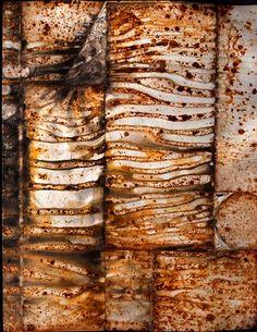 "Charlee Swanson, ""Primitive Print 3""  rust,dirt, paper Shibori Fabric, Fabric Art, Textiles Techniques, Art Techniques, Collagraph, Peeling Paint, Fabric Manipulation, Mark Making, How To Dye Fabric"