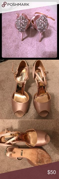 Badgley Mischka satin wedding shoes. These are absolutely gorgeous!! They were worn once for a wedding but definitely need a little tlc and will need to be dry cleaned. There is one small stone missing as pictured above. Badgley Mischka Shoes Heels