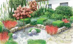 Aus einem tristen Beet im Vorgarten mit langweiliger Strauchbepflanzung wird ein farbenfroher Blickfang. Zwei Gestaltungsideen zum Nachpflanzen.   (Pflanzplan als PDF zum Herunterladen und Ausdrucken)