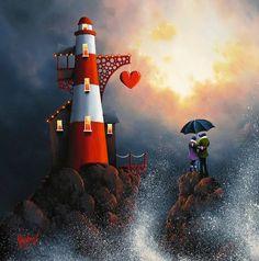 David Renshaw Love on the Rocks Romantic Paintings, Cool Paintings, Local Art Galleries, Lighthouse Art, Photo D Art, Art For Art Sake, Vintage Artwork, New Artists, Rock Art