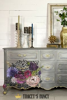 Jan 2020 - This leopard floral dresser by Tracey's Fancy is fun and sophisticated. See how she layers paint and design transfers to create this stunning piece. Furniture Makeover Inspiration, Colorful Furniture, Whimsical Painted Furniture, Furniture Makeover, Refurbished Furniture, Pretty Furniture, Furniture Renovation, Elegant Furniture, Cute Furniture