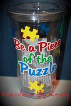 16oz Autism Awareness Tumbler (Be a piece of the puzzle)