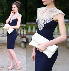 Navy Blue Midi Elegant Dress, Vj Style White Clutch Bag, Asos Nude Leather Pumps *for convention* Elegant Midi Dresses, Beautiful Dresses, Casual Dresses, Short Dresses, Fashion Dresses, Formal Dresses, Formal Prom, Lace Bodysuit, Classy Dress