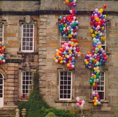 i think, it'd be neat to somehow incorporate this crazy amount of colorful balloons into the reception.