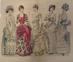A Peterson's Magazine fashion plate showing the latest Parisian fashion for August, 1884.