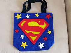 Hailey's super girl treat bag (backside). Made by her Mom Tiana. Halloween 2011