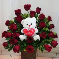 ~ Pin by Zoila Flores on arreglos florales Valentines Day Baskets, Valentines Flowers, Valentine Day Wreaths, Valentines Day Decorations, Bolo Lego, Valentine's Day Flower Arrangements, Love Rose Flower, Rose Flower Wallpaper, Gift Bouquet