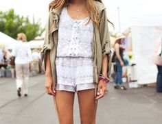 military jackets over rompers in the spring