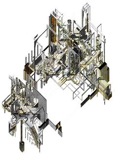 Larisa Bulibasa reimagines London's financial district as labyrinth Architecture Concept Drawings, Architecture Collage, Architecture Portfolio, Architecture Design, Architecture Diagrams, Axonometric Drawing, Bartlett School Of Architecture, Conceptual Drawing, Invisible Cities