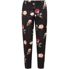 No. 21 Rose Print Trousers (909.980 COP) ❤ liked on Polyvore featuring pants, bottoms, trousers, pantalones, black, flower pants, flower print pants, patterned trousers, flat-front pants and patterned pants