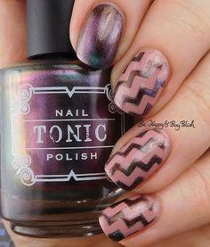 Tonic Polish Xtravaganza magnetic nail polish, 6 Harts Heart of the Milky Way zig zag nail art manicure | Be Happy And Buy Polish