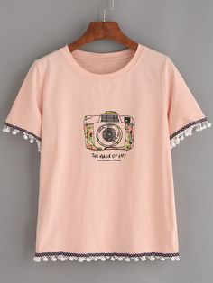 Pink Pom Pom Trim Camera Print T-shirt