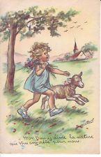 """Carte postale ancienne Germaine BOURET - """"Mon Dieu j'aime la nature....."""""""