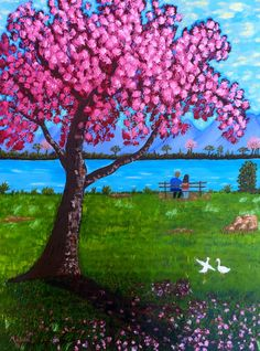 Dream Painting Cherry Blossom Painting Couple by MelidasArt