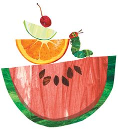 "Direct from Eric Carle's blog, ""Soon it will be summer and it will be time for The Very Hungry Caterpillar Fruit Salad!""  1 Apple  2 Pears  3 Plums  4 Strawberries  5 Oranges  & a bunch of mint leaves"
