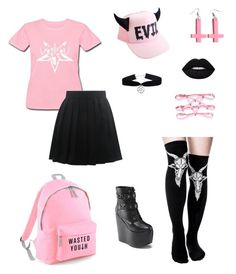 """""""Satanic pink"""" by barnowlkitten on Polyvore featuring Pink and satanic"""