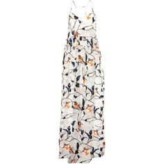 MSGM Jacquard Devore Little Birds Print Long Dress (2,050 CAD) ❤ liked on Polyvore featuring dresses, white jacquard dress, long white dress, floor length white skirt, ankle length skirts and bird print dress