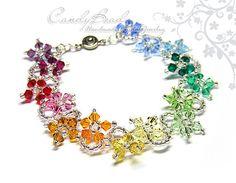 Swarovski Bracelet Crystal Bracelet with Rainbow by candybead, $15.00