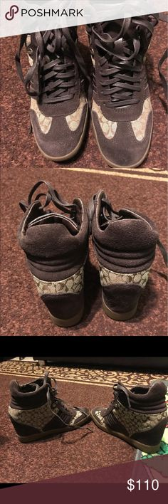 Womens coach sneakers wedges tan/brown size 7 Only worn once. In great condition! Price is negotiable  Coach Shoes Sneakers
