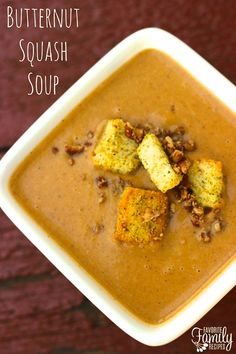 "My daughter's exact words when tasting this Creamy Butternut Squash Soup: ""This tastes like dessert!"" This soup is creamy and has all the flavors of fall.   Find all our yummy pins at https://www.pinterest.com/favfamilyrecipz/"