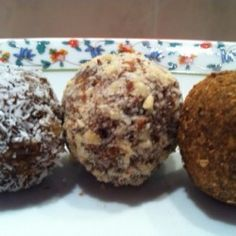 """Moroccan Date Charoset """"Truffles"""" with Dates, Raisins, and Walnuts, Rolled in Cinnamon"""