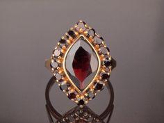 Marquise Garnet Gold Ring Vintage Navette by BelmontandBellamy
