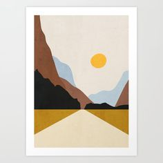 Minimal Art Landscape 9 Art Print by thindesign Simple Canvas Paintings, Easy Canvas Art, Small Canvas Art, Mini Canvas Art, Art Sur Toile, Posca Art, Minimalist Painting, Guache, Watercolor Art