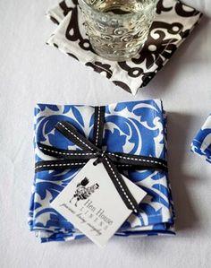Santorini Blue Cocktail Napkins | Hen House Linens