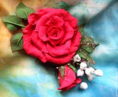 """Купить Брошь-заколка из фоамирана. Роза """"Пламя страсти"""" - ярко-красный, купить подарок женщине"""