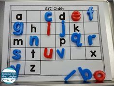Cookie Sheet Activities are a fun way for toddlers, preschool, kindergarten or first grade students to practice grundlegende fähigkeiten. Using these magnetic boards for alphabet. Cookie Sheet Activities, Letter Activities, Literacy Activities, Kindergarten Centers, Kindergarten Literacy, Preschool Learning, Alphabet Magnets, Alphabet Board, Alphabet Letters