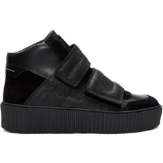 MM6 Maison Margiela Black Platform High-Top Sneakers ($425) ❤ liked on Polyvore featuring shoes, sneakers, black, platform sneakers, platform shoes, hi tops, black high-top sneakers and black sneakers
