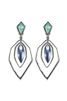Alexis Bittar spring 2014 jewelry . Midnight blue, turquoise and silver earings, pearl finish