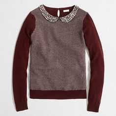 Dying over this!!!!!!!!!!!!!! J Crew Factory warmspun herringbone jewel-collar sweater in cabernet