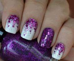 unhas em glitter Roxo