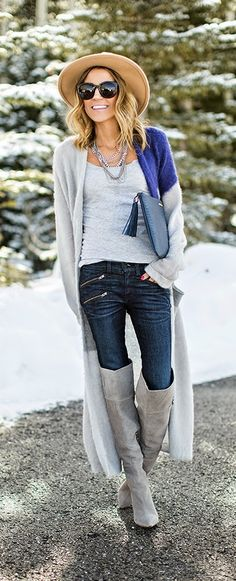 Causal Long Cardigan + Grey Suede Over The Knee / Best LoLus Winter chic