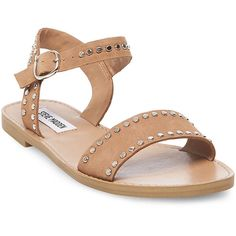 Steve Madden Donddi-S Sandals ($60) ❤ liked on Polyvore featuring shoes, sandals, camel nubuck, flats sandals, studded flats, nubuck shoes, nubuck sandals and steve madden sandals