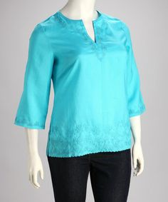 Turquoise Embroidered Plus-Size Top #zulily #zulilyfinds