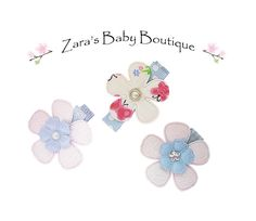 Baby Hair Clips * Blue * Pink * White * Butterfly Clips * Flowers * Clip Set * Clipppies * Toddler Girls * Zara's Baby Boutique by ZarasBabyBoutique on Etsy
